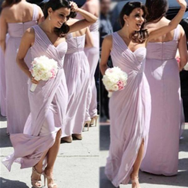 Charming Long One Shoulder Simple Cheap Front Split Bridesmaid Dresses,Bridesmaid Gowns