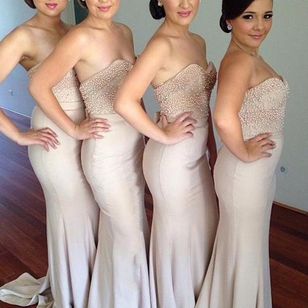 Sweetheart Mermaid Long Beading Bridesmaid Dresses,Beautiful Bridesmaid Dresses