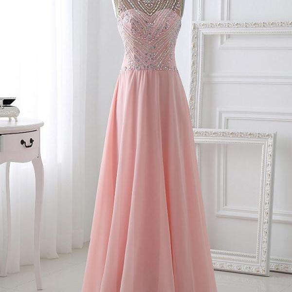 Handmade Long Chiffon Prom Dresses,Pretty Pink Beading Prom Dress,A-line Evening Dresses