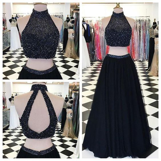 2016 New Design Long Two Pieces Black Halter Prom Dresses, Prom Gowns,Modest Evening Dresses,Open Back Party Dresses, Charming Prom Dress