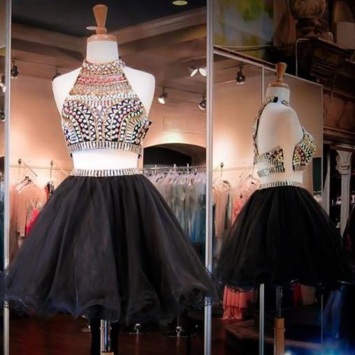 Black Homecoming Dress,2 Piece Homecoming Dresses,Black Beading Homecoming Gowns,Short Prom Gown,2 pieces Cocktail Dress,Two Pieces Parties Gowns