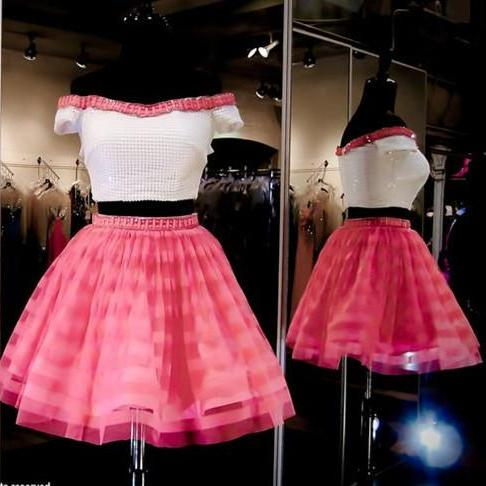 Homecoming Dress,2 Piece Homecoming Dresses,Homecoming Gowns,Short Prom Gown,Pink Sweet 16 Dress,Homecoming Dress,2 pieces Cocktail Dress,Two Pieces Evening Gowns