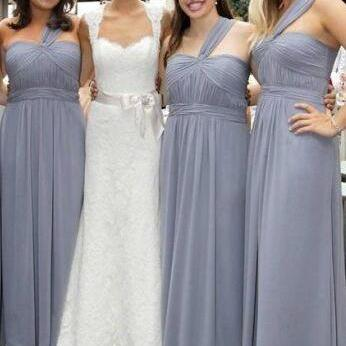 Evening Dresses, Prom Dresses,One Shoulder Grey Chiffon Bridesmaid Dresses For Wedding, Bridesmaid Dresses,Simple Bridesmaid Gowns