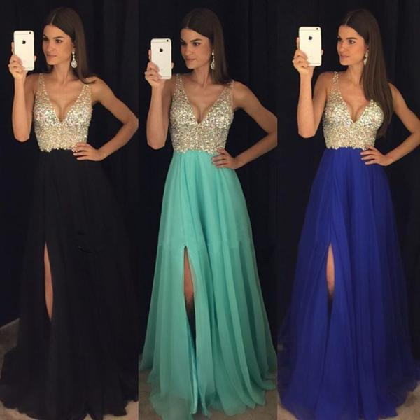 Evening Dresses, Prom Dresses,Party Dresses,New Arrival Prom Dress,Modest Prom Dress,sparkly crystal beaded v neck open back long chiffon prom dresses ,2017 pageant evening gowns with leg slit