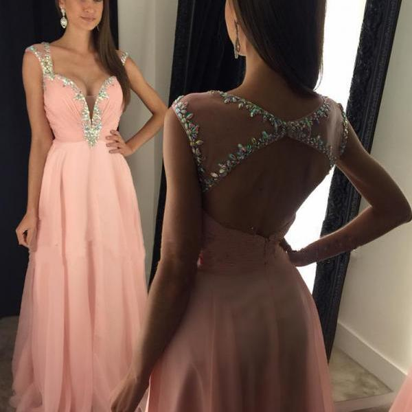 Evening Dresses, Prom Dresses,Party Dresses,New Arrival Prom Dress,Modest Prom Dress,Stunning Beaded Straps Sweetheart Open Back Long Chiffon Prom Dresses 2017