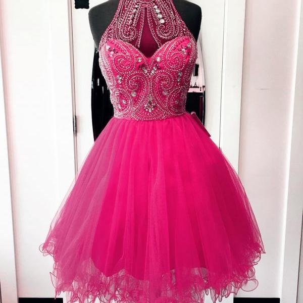 Party Dresses,Homecoming Dresses,high neck homecoming dresses,hot pink prom dresses,chic party dress,women's cocktail dress