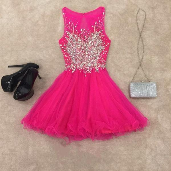Party Dresses,Homecoming Dresses,chic prom dresses,short prom gowns,pink homecoming dress,short cocktail dresses 2017,elegant prom gowns