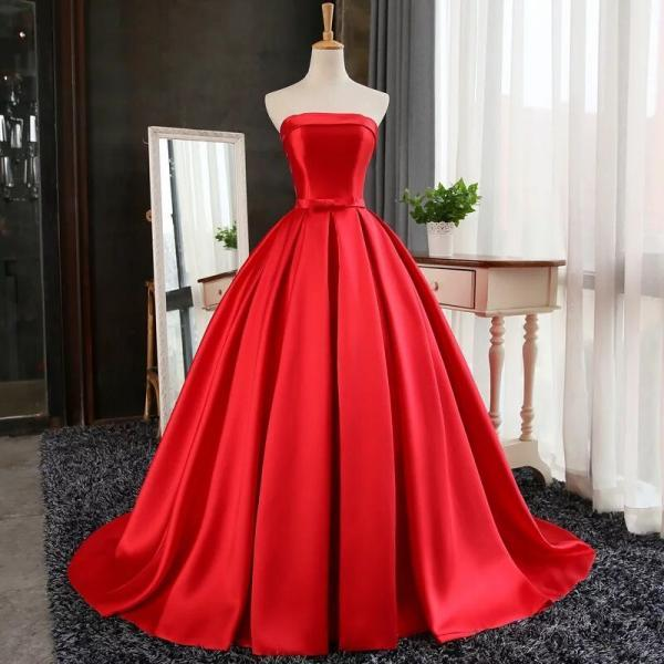 Evening Dresses, Prom Dresses,Party Dresses,New Arrival Prom Dress,Modest Prom Dress,red satin ball gowns prom evening dresses 2017, strapless formal dress