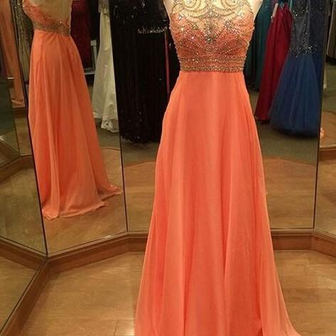 Evening Dresses, Prom Dresses,Party Dresses,New Arrival Prom Dress,Modest Prom Dress,Long Prom Dresses Sleeveless Backless Sweep Train Chiffon with Crystal Beading Party Dress, A-line Formal Dress
