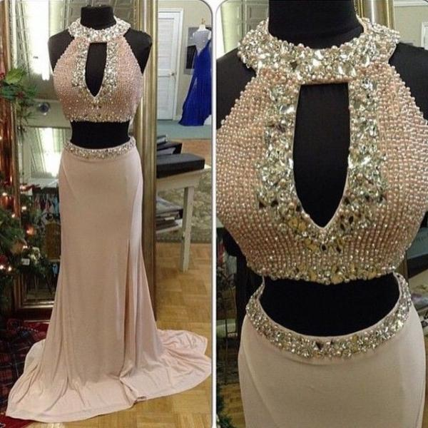 Evening Dresses, Prom Dresses,Party Dresses,Prom Dress, Prom Dresses, Prom Dresses,Real Iamge Picture Luxury Bling Sparkle Evening Dresses Two 2 Pieces Crew Pearls Rhinestones Beads Satin Long Formal Prom Party Gowns