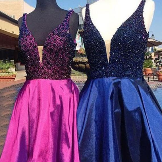 Modern V-Neck Rose Pink/Royal Blue Short Prom Homecoming Dress with Beading,Homecoming Dresses