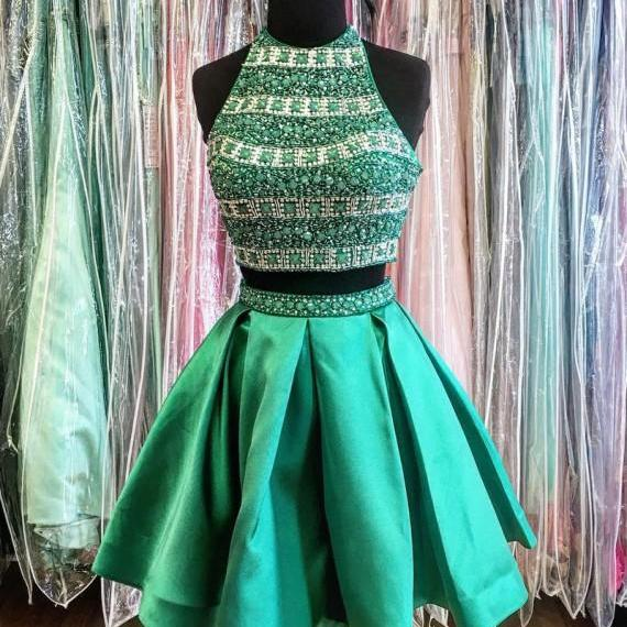 Chic Halter Sleeveless Backless Short Turquoise Homecoming Dress with Beading Pleats, Homecoming Dresses