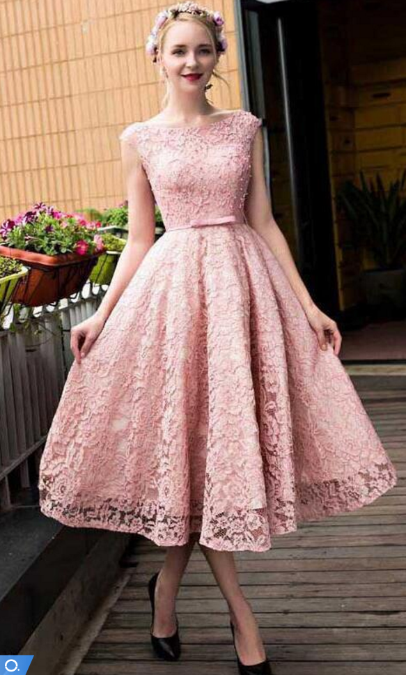 2017 New Crew Neck Lace Knee Length Cocktail Dresses Organza Lace ...