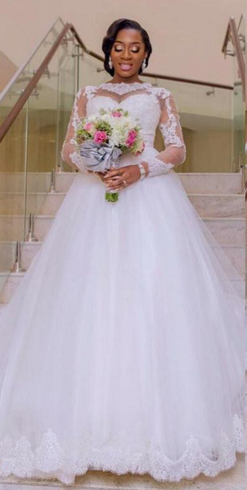 Plus Size Wedding Dresses,Long Sleeves Wedding Dress,African Wedding  Dress,Sheer Ball Gown Wedding Gowns