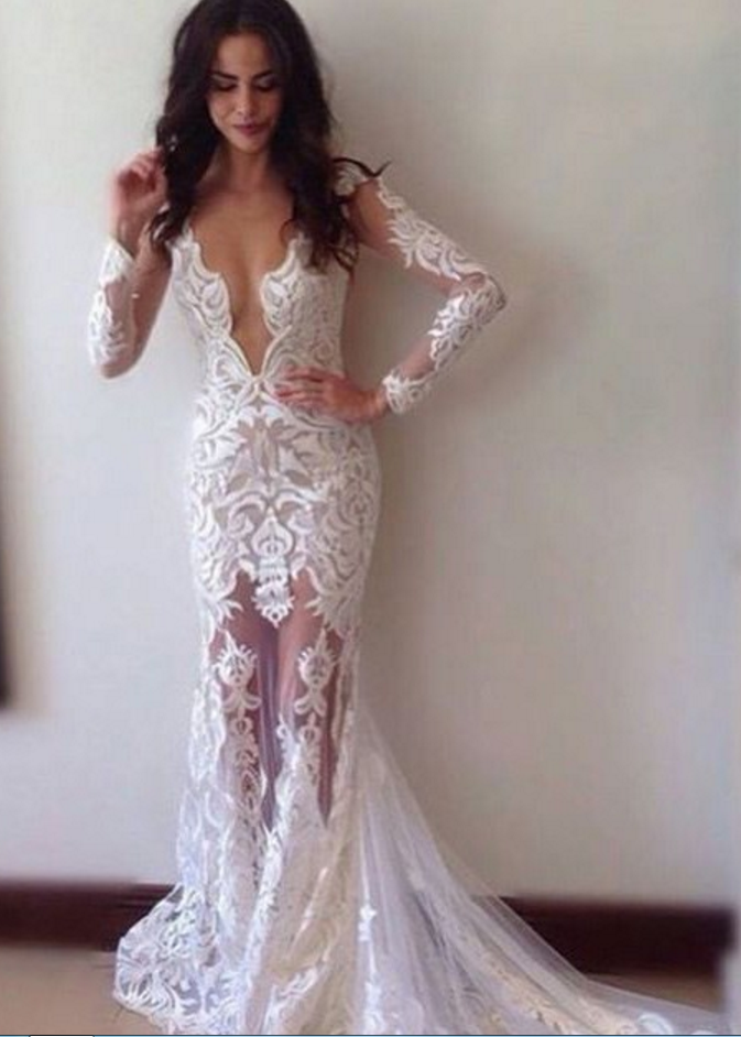 New Mermaid Wedding Dress Sexy Sheath Lace Wedding Dresses Bridal Gown With Court Train Deep V Neck Long Sleeves Floor Length Bridal Dresses Long